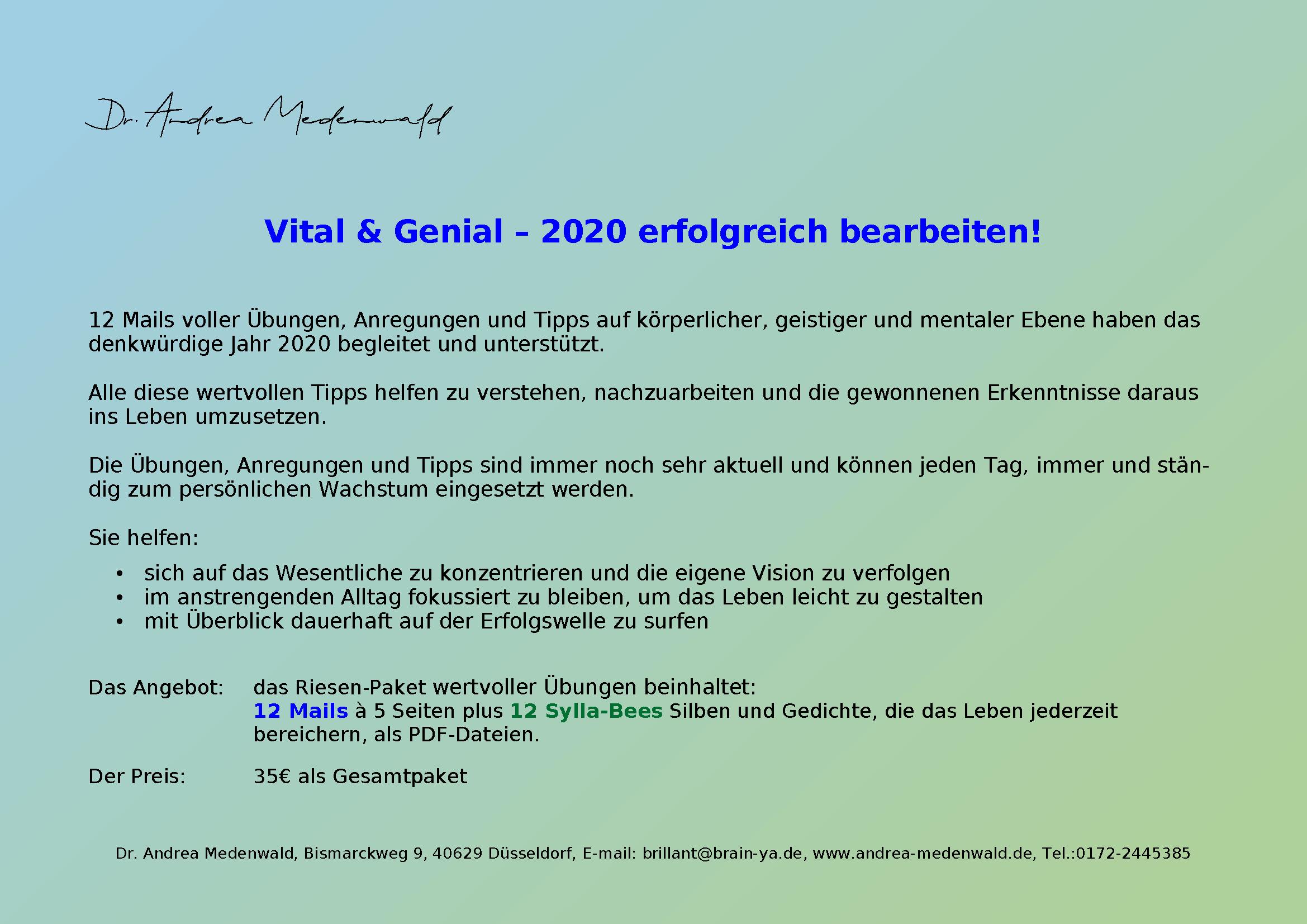 Vital & Genial 2020: 12 Mails voller Übungen, Anregungen und Tipps auf körperlicher, geistiger und mentaler Ebene