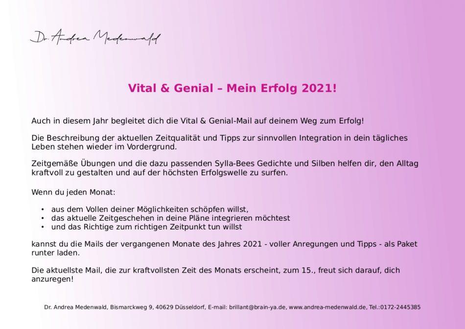 Vital & Genial 2021 – Mein Erfolg 2021!