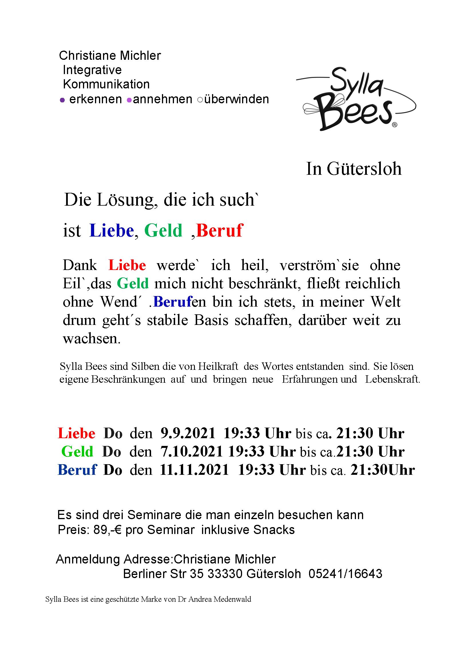 Sylla-Bees Seminare in Gütersloh • Chancen erkennen, Realisierung gestalten, Kraft stabilisieren